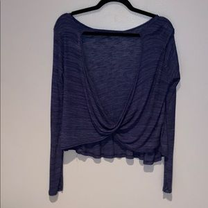 Woman's Forever 21 Blue Open Back Long Sleeve Top